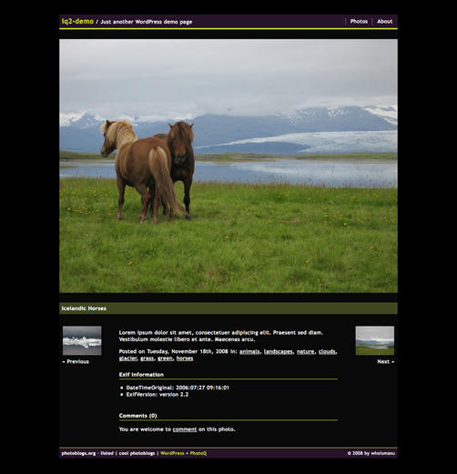 iQ2 WordPress Photoblog Theme