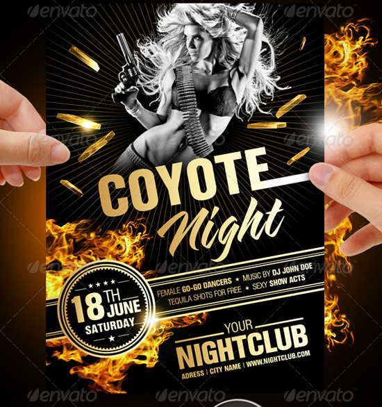 Coyote Night Flyer Template