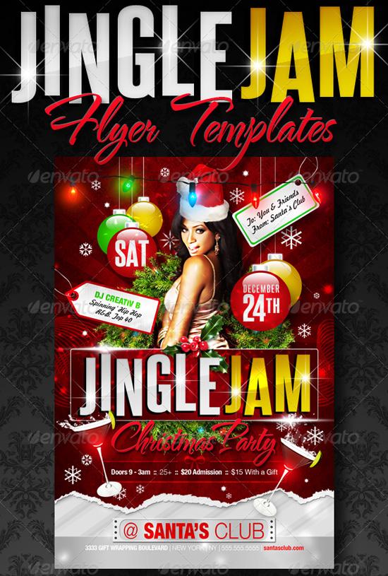 Jingle Jam Christmas Party Flyer Template