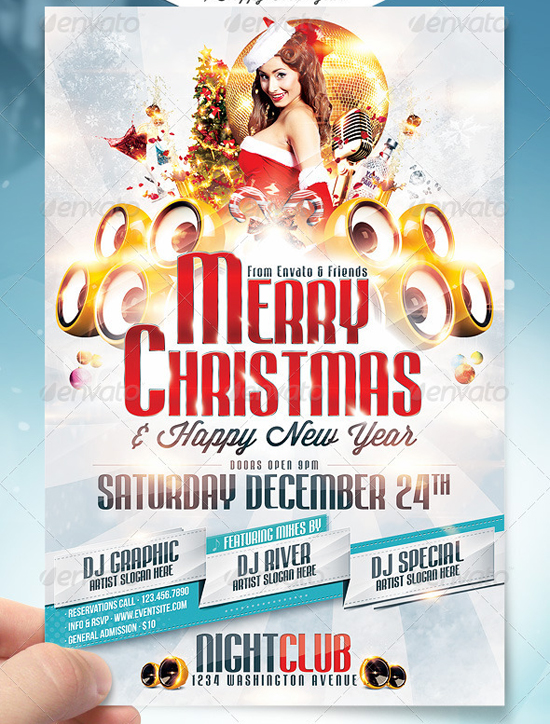 Merry Christmas Party Flyer Template