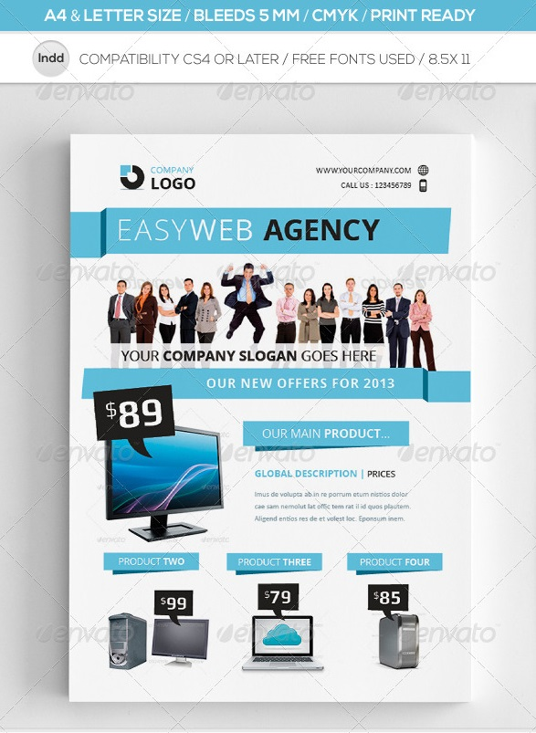 clean indesign commerce flyer template a4 & letter