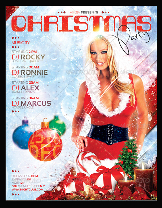 Christmas winter Nightclub Concert Party Flyer