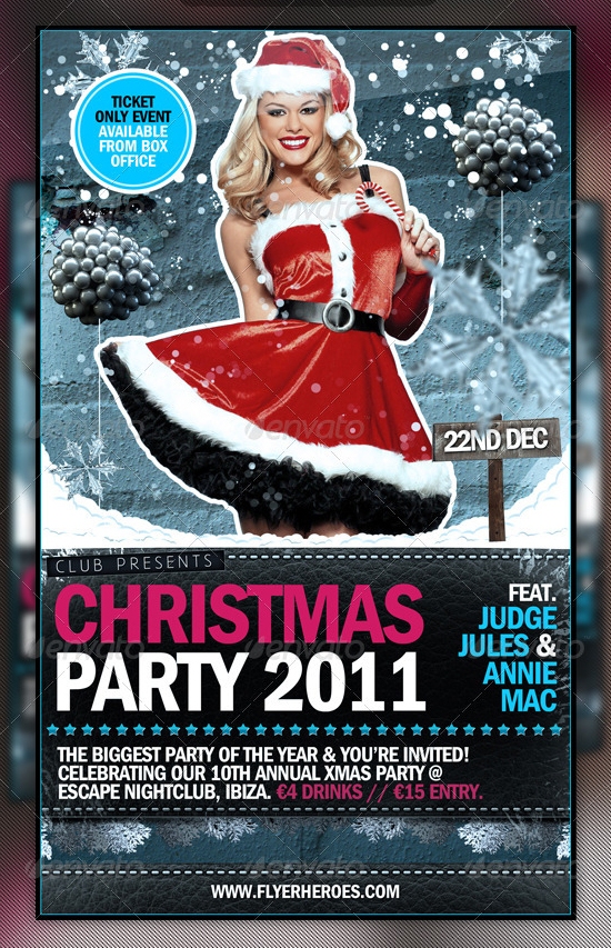 Wintery Christmas Party Flyer Template