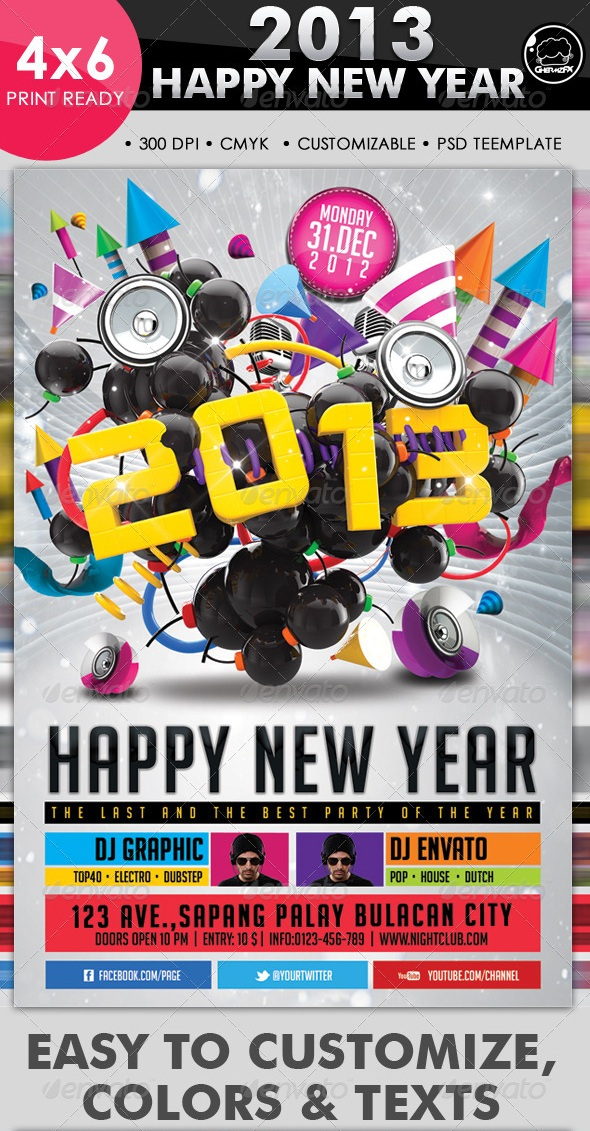 2013 Happy New Year Flyer Template