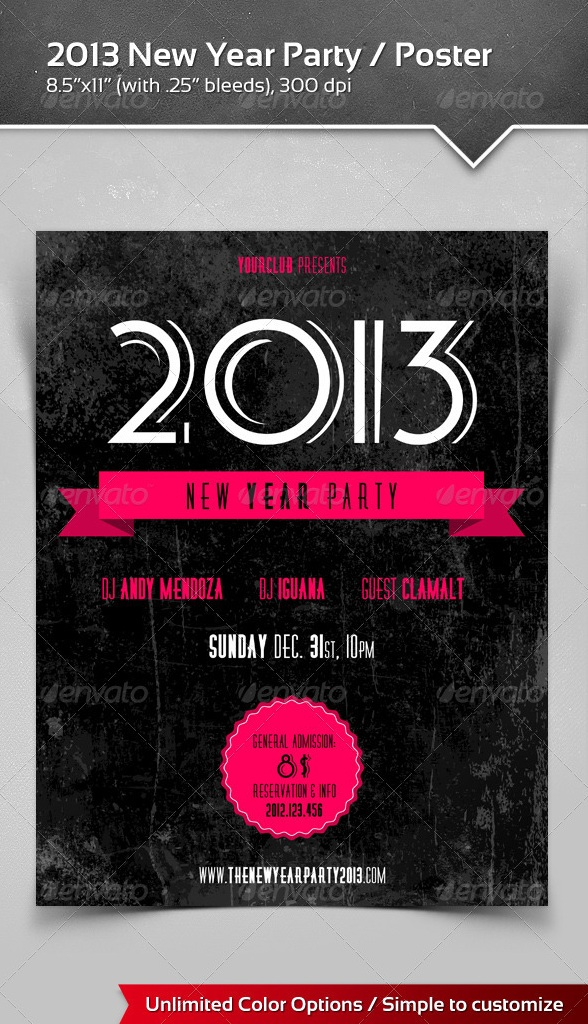 2013 New Year Party Poster