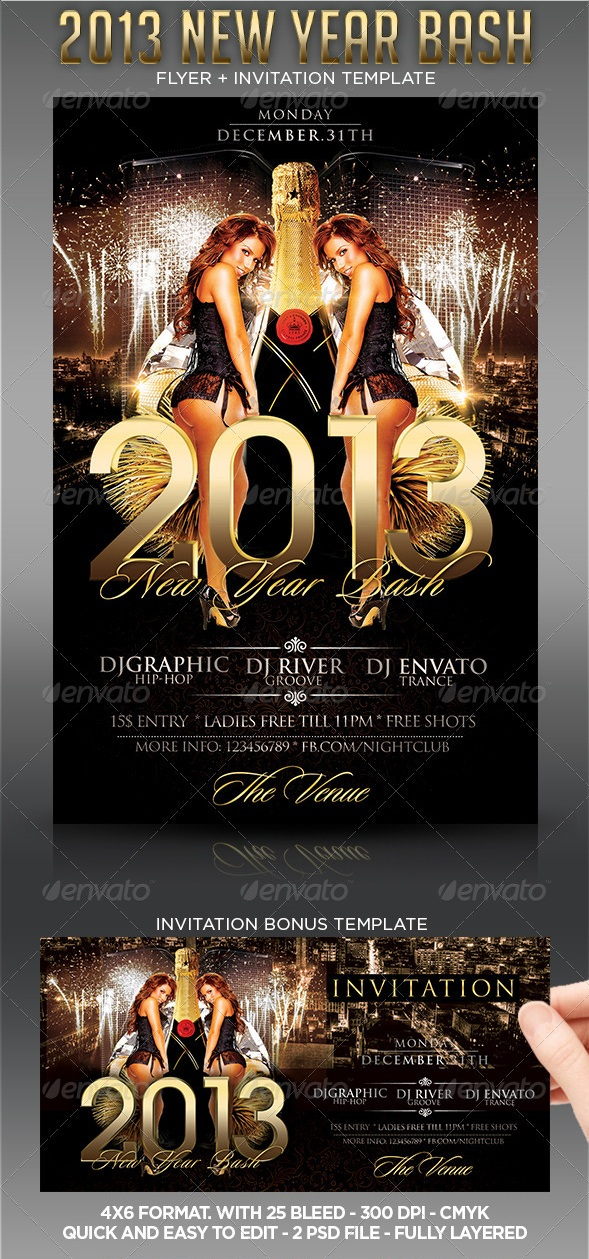 2013 New Year Party Flyer Template