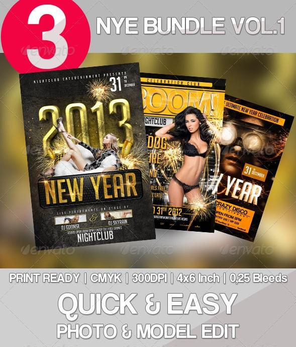 3x New Year Flyer Bundle Vol. 1