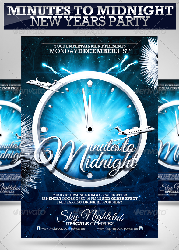 Minutes to Midnight New Years Party Flyer