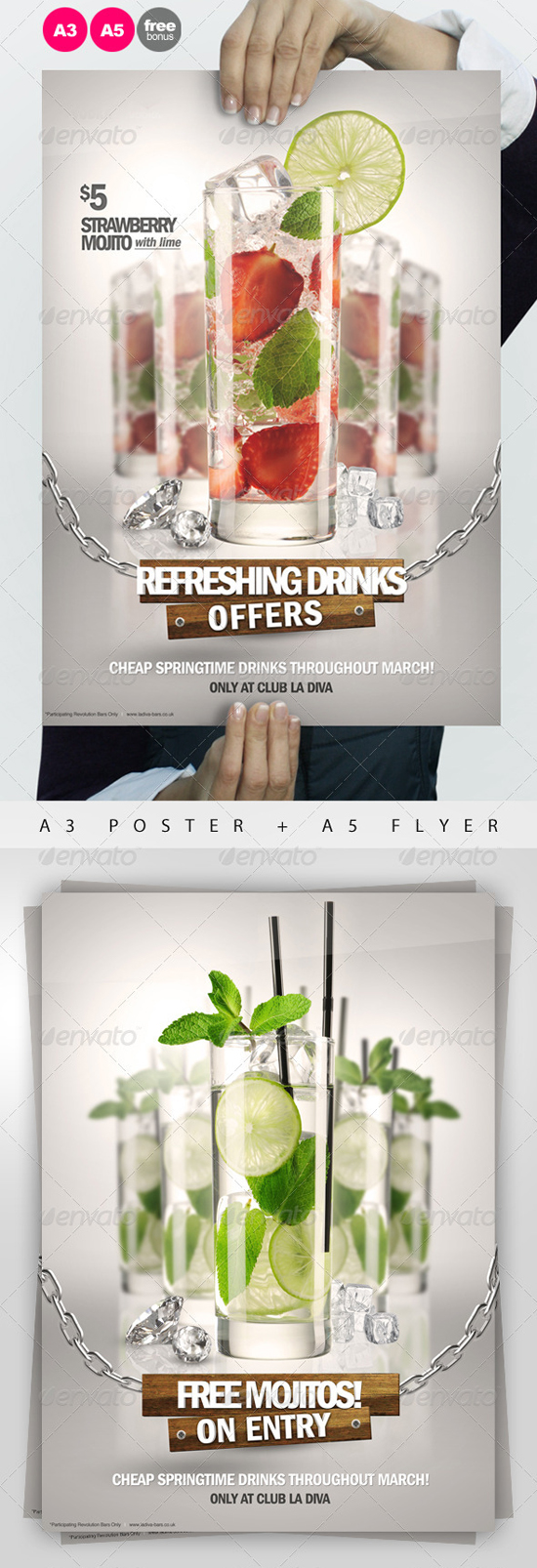 A3 Drinks Advertisement Poster Template