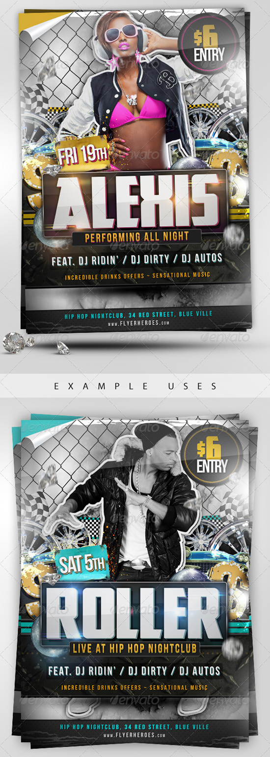Roller PSD Party Flyer Template