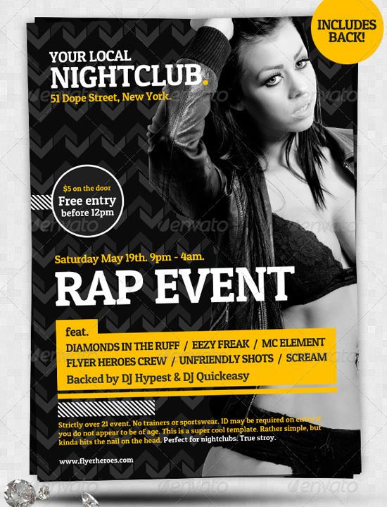 Typographic A5 Nightclub Flyer Template