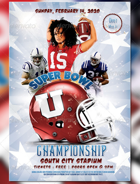 Super Bowl Championship Flyer Template