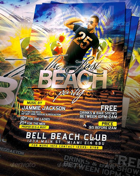 Last Summer Beach Party Flyer Template