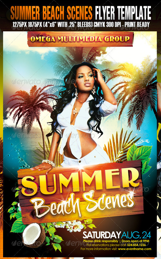 Summer Beach Scenes Flyer Template
