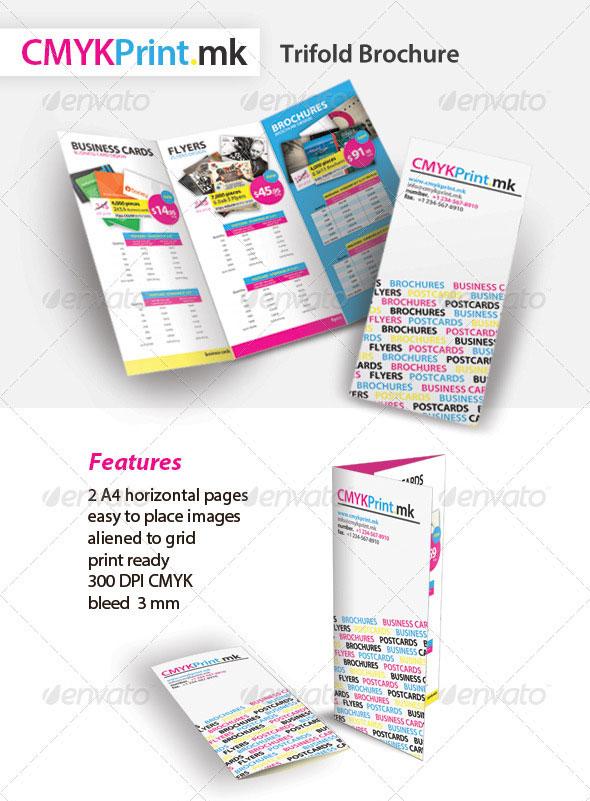 CMYK Print Trifold Brochure
