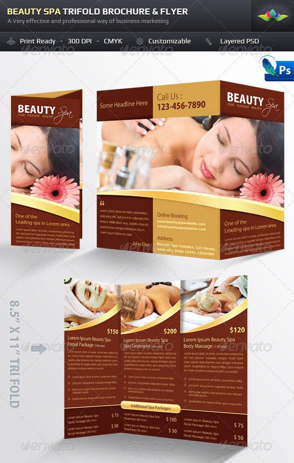 Beauty Spa Trifold Brochure & Flyer Pack