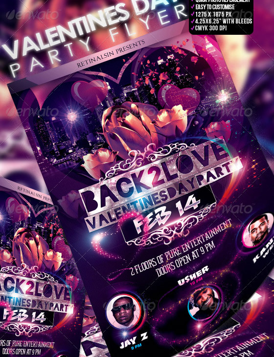 back to love valentines flyer template