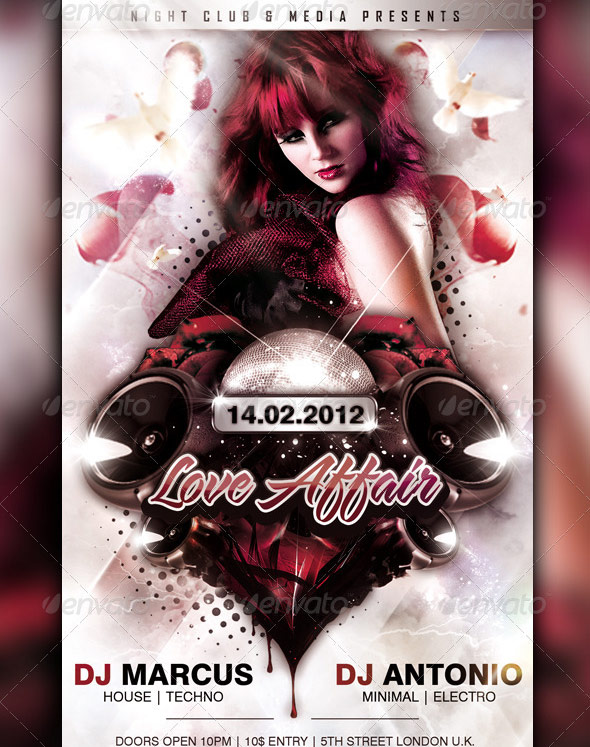 love affair flyer template