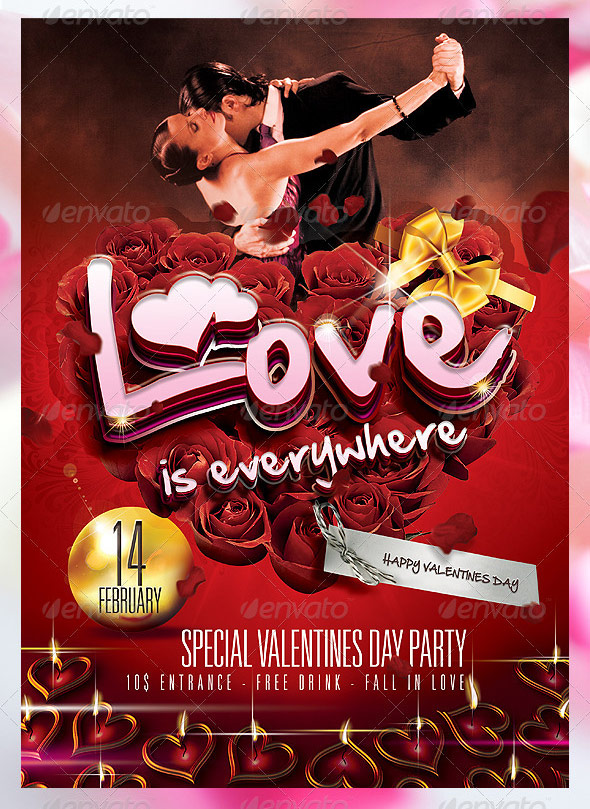 love is everywhere valentines flyer template