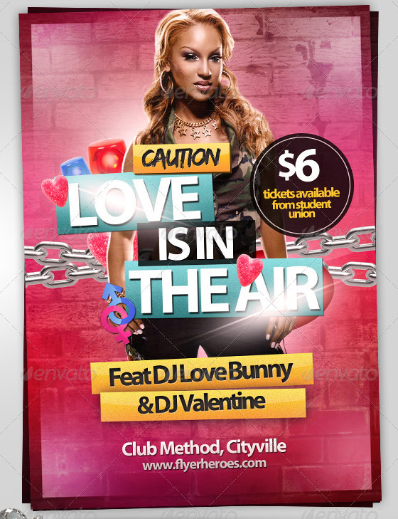 love is in the air valentines party flyer