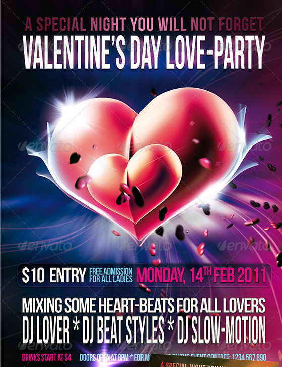 valentines love party flyer template