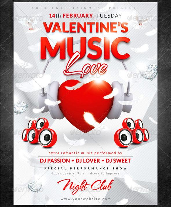 valentines music love flyer