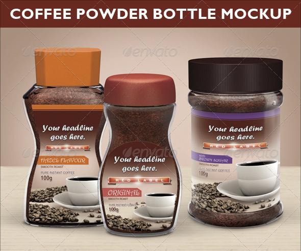 Coffee Powder Bottle Mock-up