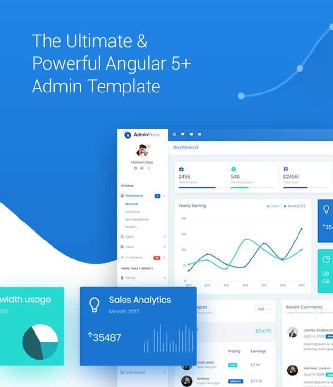 admin press angular cli admin template