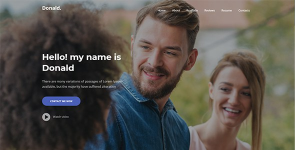 donald - personal one page template