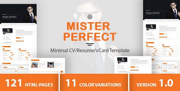 mister perfect - minimal cv/resume/vcard template