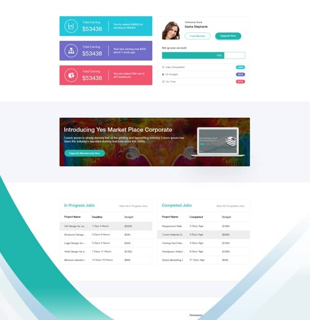 yes market place - freelance marketplace admin template