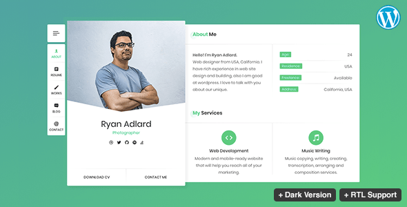 ryan - cv / resume / vcard theme