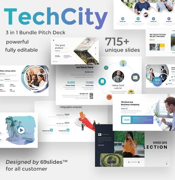 techcity 3 in 1 pitch deck bundle powerpoint template