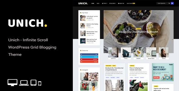 unich - infinite scroll wordpress blogging food recipes theme